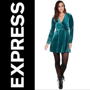 Express Green Velvet Surplice Dress, Large